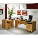 Great Value Sun Bundle Deal L Shaped Desk and 2 Pedestals