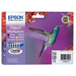 Epson T0807 black and five colour ink cartridge multipack T080740