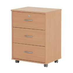 Duo Office Furniture 3 Drawer Pedestal Beech 48W x 39D x 66H cm