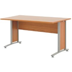 Prima 1500mm straight office desk in cherry-effect
