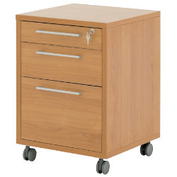 Prima three-drawer mobile filing pedestal in beech-effect