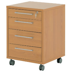 Prima four-drawer mobile filing pedestal in beech-effect