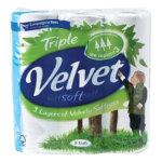 Triple Velvet Toilet Tissue 3 ply Pack 9