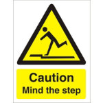 Warning Sign Caution Mind The Step Self Adhesive Vinyl 200 x 150 mm