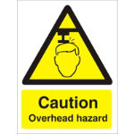 Warning Sign Caution Overhead Hazard Self Adhesive Vinyl 150 x 200 mm