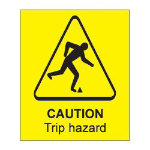 Warning Sign Caution Trip Hazard Self Adhesive Vinyl 125 x 150 mm