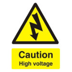 Warning Sign Caution High Voltage PVC 150 x 200 mm