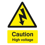 Warning Sign Caution High Voltage Self Adhesive Vinyl 125 x 150 mm