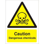 Warning Sign Caution Dangerous Chemical Self Adhesive Vinyl 125 x 150 mm