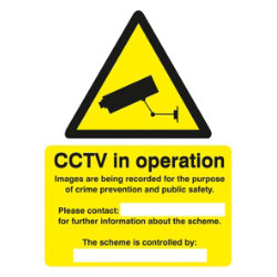 Warning Sign Warning CCTV Cameras In Constant Operation Self Adhesive Vinyl 125 x 150 mm