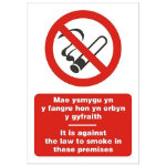 Against Law To Smoke Sign Welsh Language