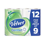 Velvet Toilet Roll 3 ply Pack 12