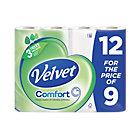 Velvet 3 Ply Toilet Tissue 12 Rolls Per Pack