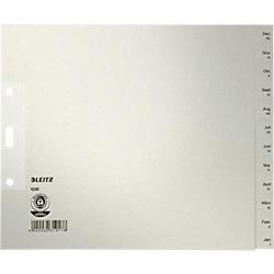 Papier-Register 1230 DIN A4 Überbreite (halbe Höhe) Grau 12-teilig Tauenpapier Dez - Jan