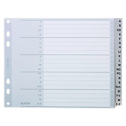 Kunststoff-Register 1262 DIN A4 Überbreite (halbe Höhe) Grau 20-teilig Polypropylen A - Z