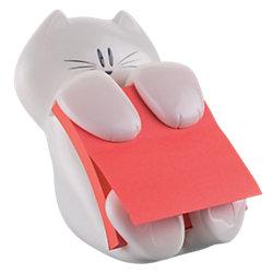 Haftnotizen-Spender Katze Weiß 76 x 76 x 101,6 mm 70 g/m² 1 Block Super Sticky Z-Notes, rot