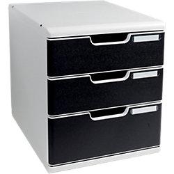 Ablagesysteme Modulo Polystyrol/PS Lichtgrau/Schwarz 28,8 x 35 x 32 cm