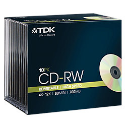10 St�ck TDK CD-RW 80 min slim Case im Slim Case 700 MB 80 Min.