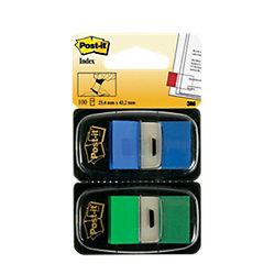 Index Haftstreifen 680-GB2 Grün, Blau 25,4 x 43,2 mm 100 Stück