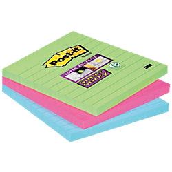 Linierte Haftnotizen Super Sticky Grün, rosa und blau Liniert 101 x 101 mm 3 x 70 Blatt