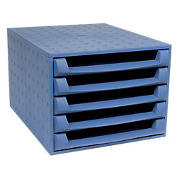 Exacompta Bürobox /221101D, kobaltblau, 5 offenen Schubladen