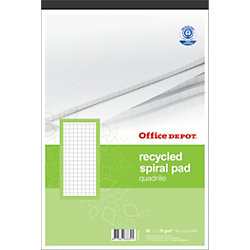 Recycling-Notizblöcke Recycled Weiß Kariert DIN A4 21 x 29,7 cm 5 Stück