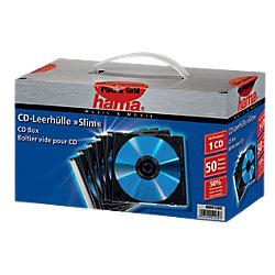 CD-/DVD-Hüllen Polyester 1 CDs/DVDs Transparant schwarz 50 Stück