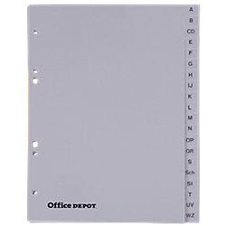 Office Depot Register DIN A5 Grau PP A - Z (20-teilig) nur für Din A5 Ordner geeignet 6-fach 163 x 210 mm
