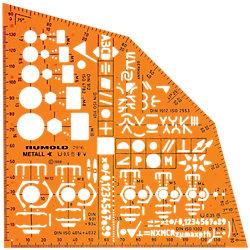 Schablone Metallwinkel Orange 15.5 cm Kunststoff