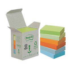 Recycling Haftnotizen Mini-Tower Mehrfarbig Pastell 38 x 51 mm 80 g/m² 6 x 100 Blatt