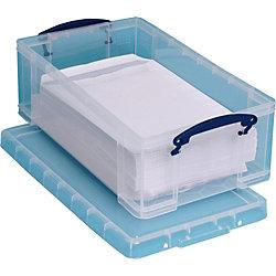 Aufbewahrungsbox mit Deckel und 2 Tragegriffe 12 Liter Kunststoff 27 x 46,5 x 15,5 cm Transparent