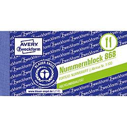 Nummernblöcke/868, farbig sortiert, 1-100, 105x53mm, 100Blatt