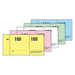 Nummernblocks/GN101, grün+rot+blau+gelb+eosin, 105x50mm, Inh. 100 Blatt