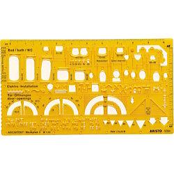 Zeichenschablone Techn. Zeichnen Gelb 22.5 cm Kunststoff