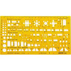 Zeichenschablone Techn. Zeichnen Orange 22.5 cm Kunststoff