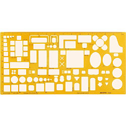 Zeichenschablone Techn. Zeichnen Gelb Kunststoff