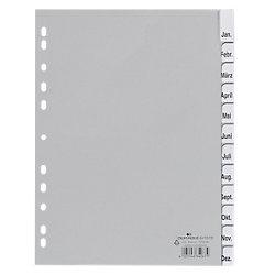 Register 6410 DIN A4 Grau 12-teilig PP-Folie Blanko