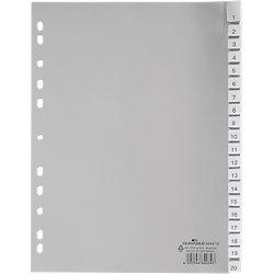 Register 6443 DIN A4 Grau 20-teilig PP-Folie Blanko