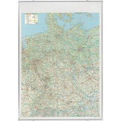 Deutschlandkarte, Straßen Silber eloxiert, Grau 100 x 140 cm