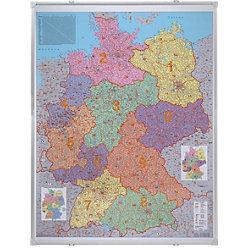 Deutschlandkarte, PLZ Silber, Grau 100 x 140 cm