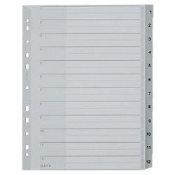 Kunststoff-Register 1282 DIN A4 Überbreite (volle Höhe) Grau 12-teilig Polypropylen 1 bis 12