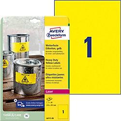 L6111-20 Wetterfeste Etiketten Gelb 210 x 297 mm 20 Blatt