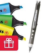 1 Stabilo Tintenroller Gratis mit Stabilo Boss Textmarke
