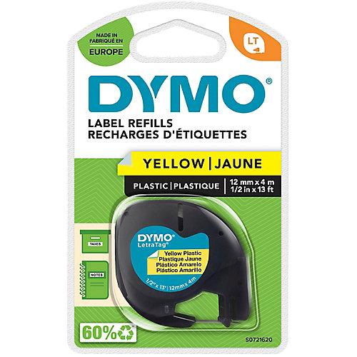 DYMO LetraTag Lettertape Plastic Zwart op Geel (12mm x 4m)