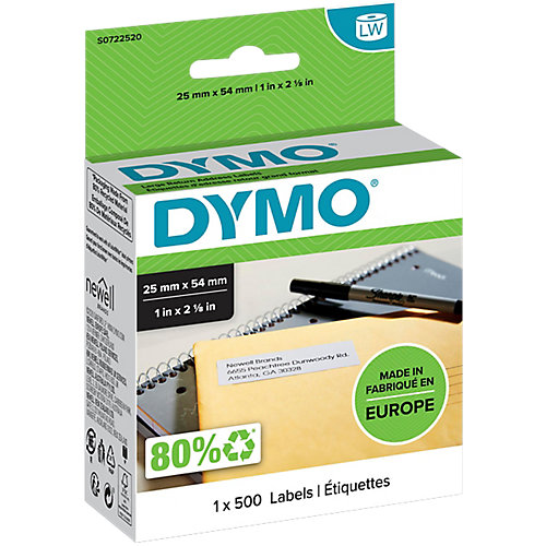 Dymo Label Writer Retour Labels - Groot / 25 x 54mm / 1 x 500
