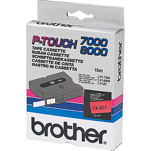 Brother TX 431 Tape Cassettes Zwart  rood