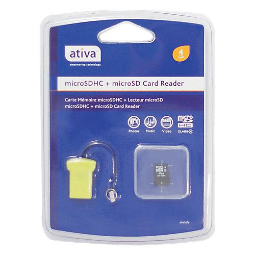 Ativa Geheugenkaart & USB-adapter Micro SDHC-kaart & USB adapter 4 GB