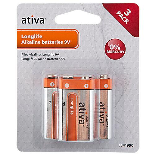 Ativa Longlife Alkaline Batterijen 9V 3 Stuks