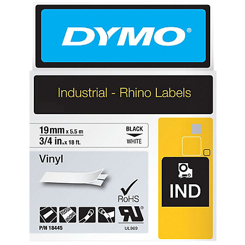 RHINO TAPE VINYL 19MM BLACK ON WHITE