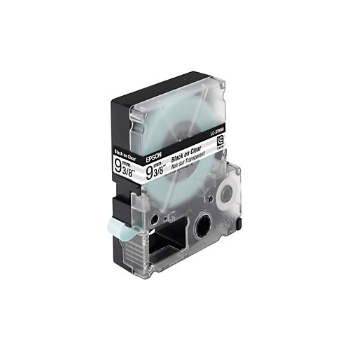 Epson transparante tape breedte 9 mm  zwart/transparant